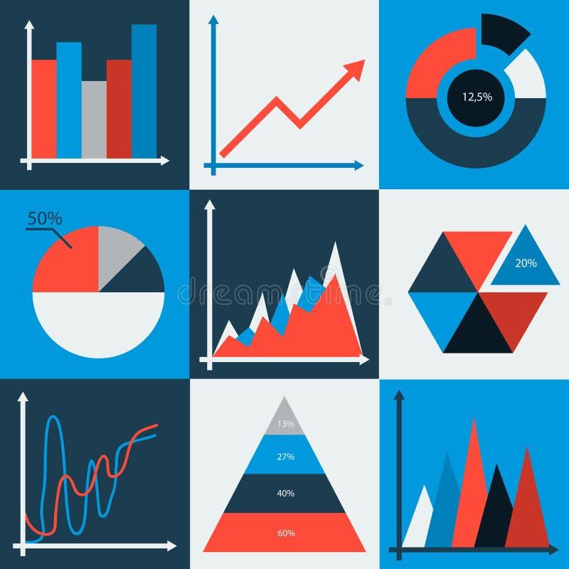 Sistema de cartas de negocio del vector, estadística, diagramas ilustración del vector