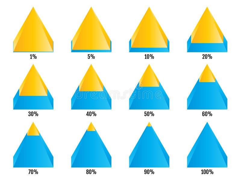 Sistema de cartas isometry azules amarillas de la pirámide con el por ciento acodado simétrico Elementos para el infographics Vec ilustración del vector