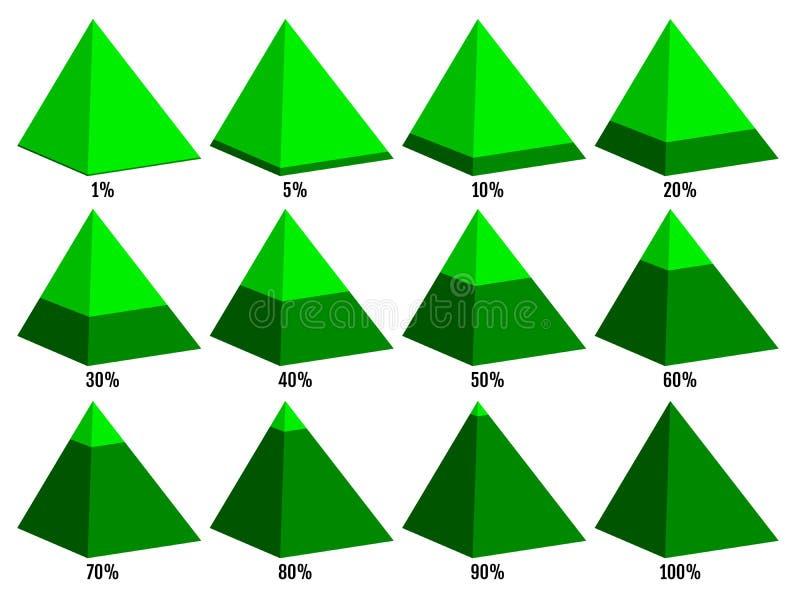 Sistema de cartas isometry verdes de la pirámide con el por ciento acodado no simétrico Elementos para el infographics Vector libre illustration