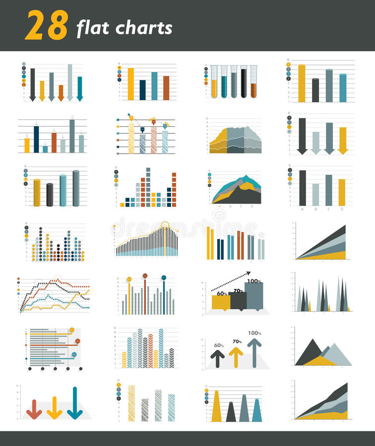 Sistema de 28 cartas planas, diagramas para infographic stock de ilustración