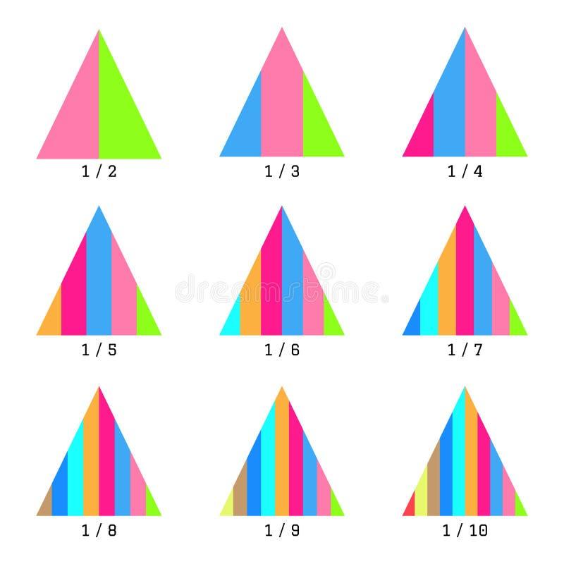 Sistema de cartas verticales coloreadas de la pirámide de la capa Gráficos de las plantillas en estilo plano Elementos coloridos  ilustración del vector