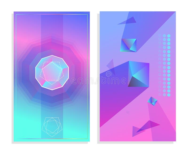 Sistema de carteles abstractos futuristas El extracto geométrico forma b stock de ilustración