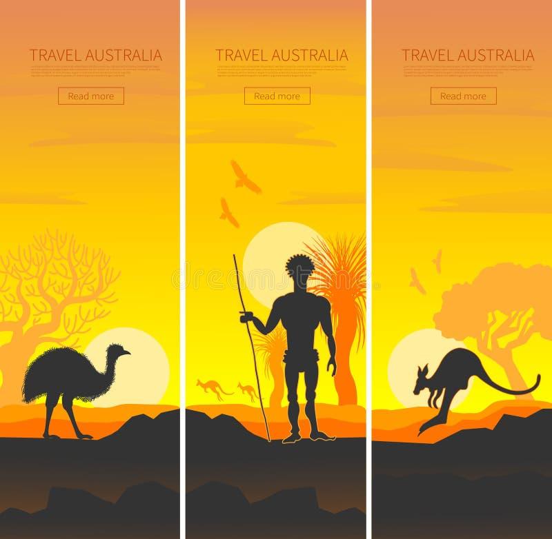 Sistema de carteles australianos del viaje ilustración del vector