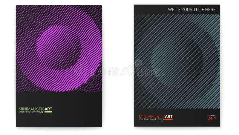 Sistema de carteles con forma simple en estilo del bauhaus Diseño de la cubierta con arte geométrico moderno Arte digital moderno stock de ilustración
