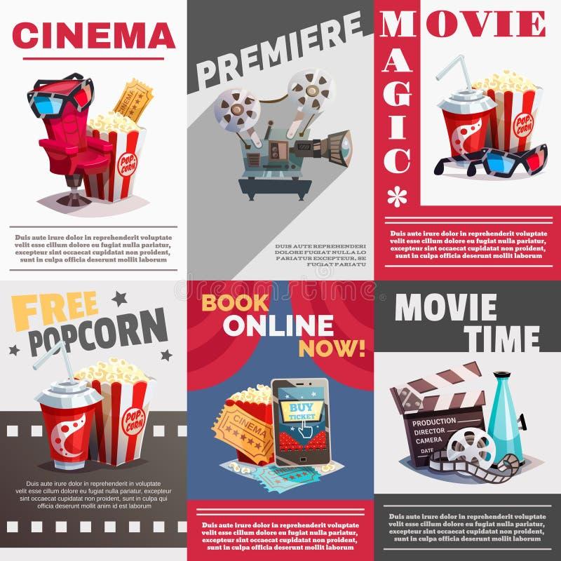 Sistema de carteles del cine con la publicidad de la premier stock de ilustración