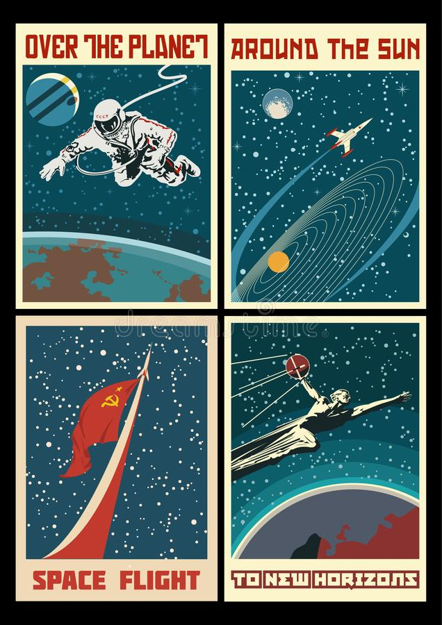 Sistema de carteles del espacio de URSS del vintage stock de ilustración