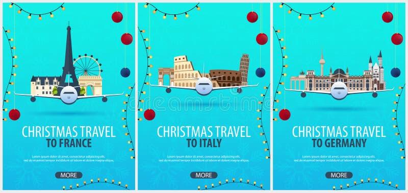 Sistema de carteles del viaje de la Navidad a Francia, Italia, Alemania Nieve y rocas del barco Ilustración del vector ilustración del vector