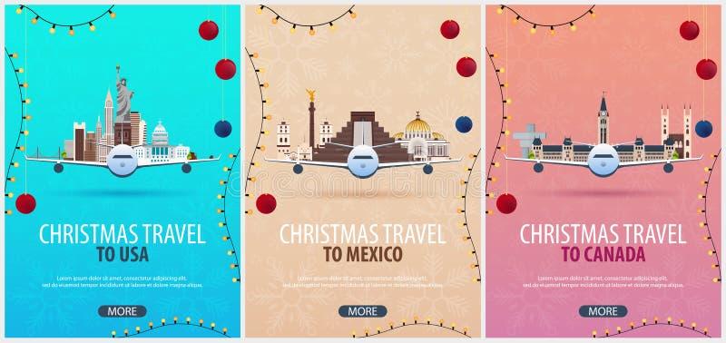 Sistema de carteles del viaje de la Navidad a los E.E.U.U., México, Canadá Nieve y rocas del barco Ilustración del vector ilustración del vector