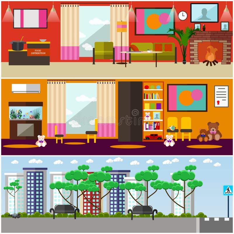 Sistema de carteles interiores del concepto de la organización de los voluntarios, estilo plano del vector libre illustration
