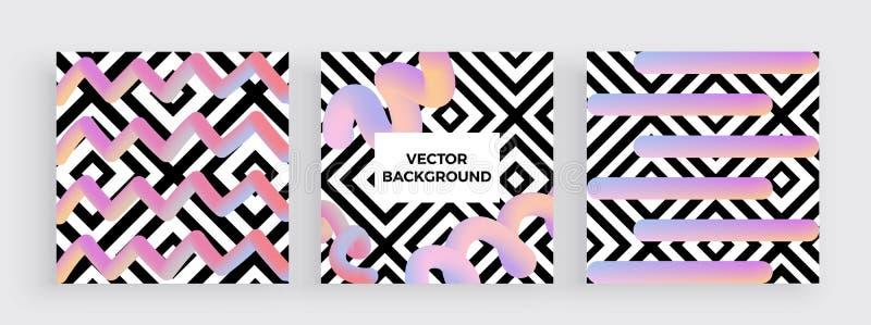 Sistema de carteles o de banderas de moda del diseño con los cuadrados geométricos modernos de la textura y las formas líquidas c stock de ilustración