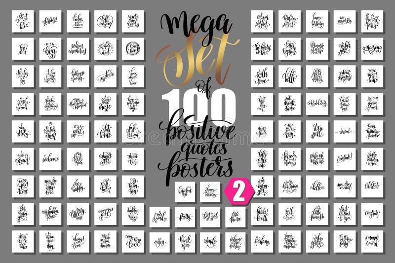 Sistema de 100 carteles positivos de las citas sobre la familia, fiesta de cumpleaños libre illustration