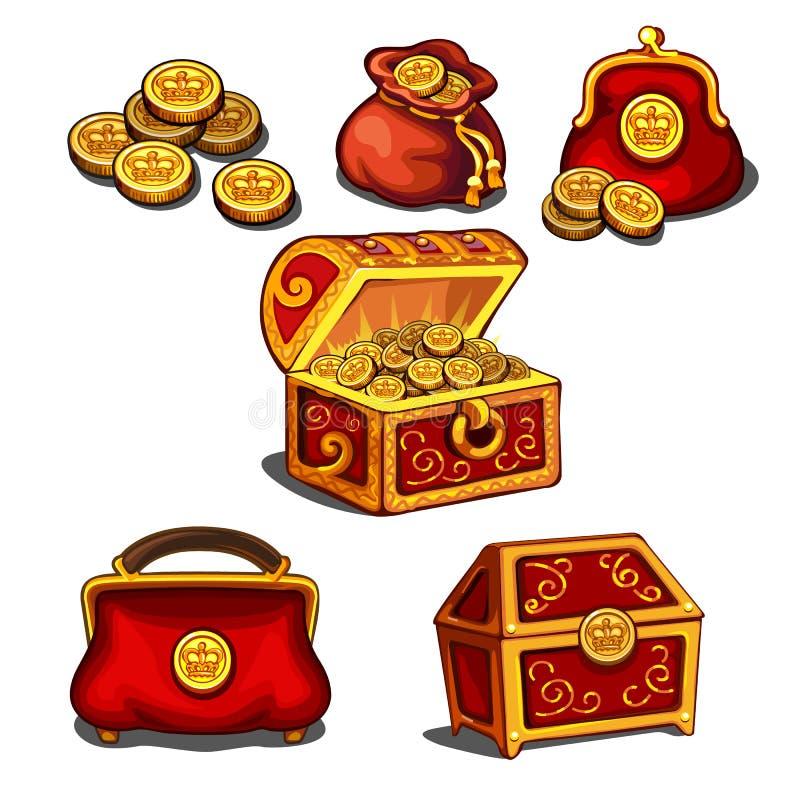 Sistema de carteras, de bolsos y de un pecho por completo de las monedas de oro aisladas en el fondo blanco Ejemplo del primer de stock de ilustración