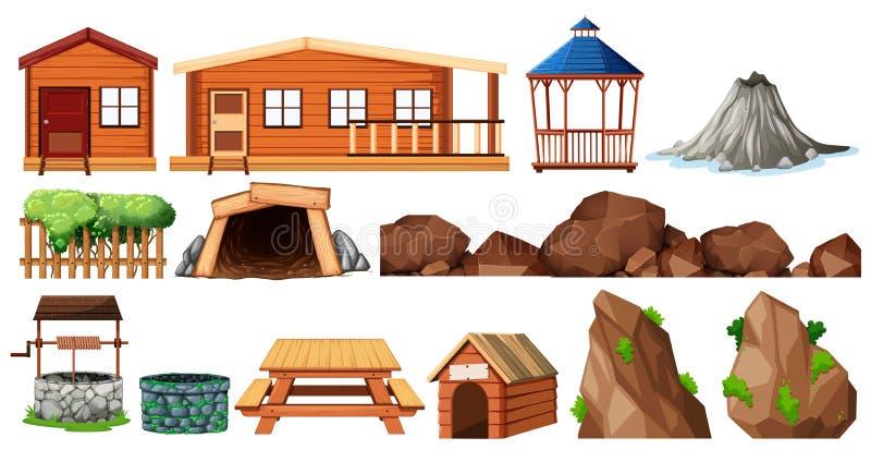 Sistema de casa y de cultivar un huerto ilustración del vector
