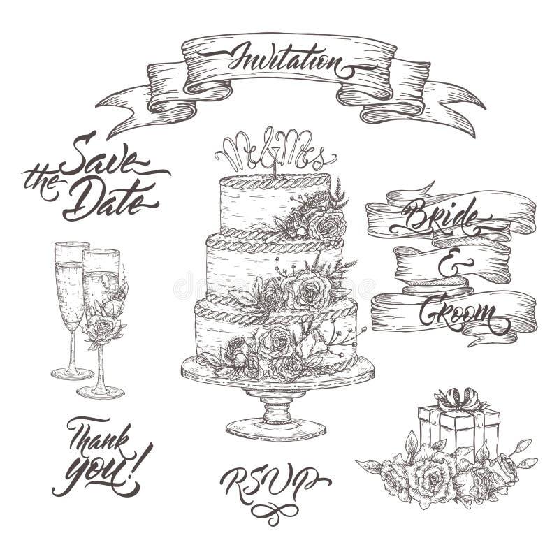 Sistema de casarse bosquejos y caligrafía relacionados del cepillo Incluye la copa de vino, la bandera de la cinta y el bosquejo  ilustración del vector