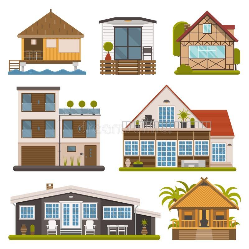 Sistema de casas de planta baja, de apartamentos y de la casa para el alquiler stock de ilustración