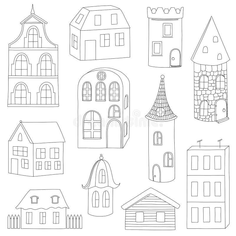 Sistema de casas del garabato stock de ilustración