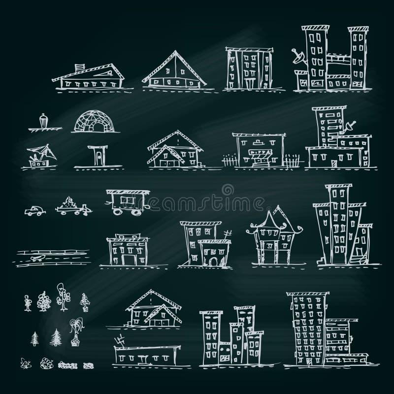 Sistema de casas dibujadas mano Diversa colección del edificio ilustración del vector