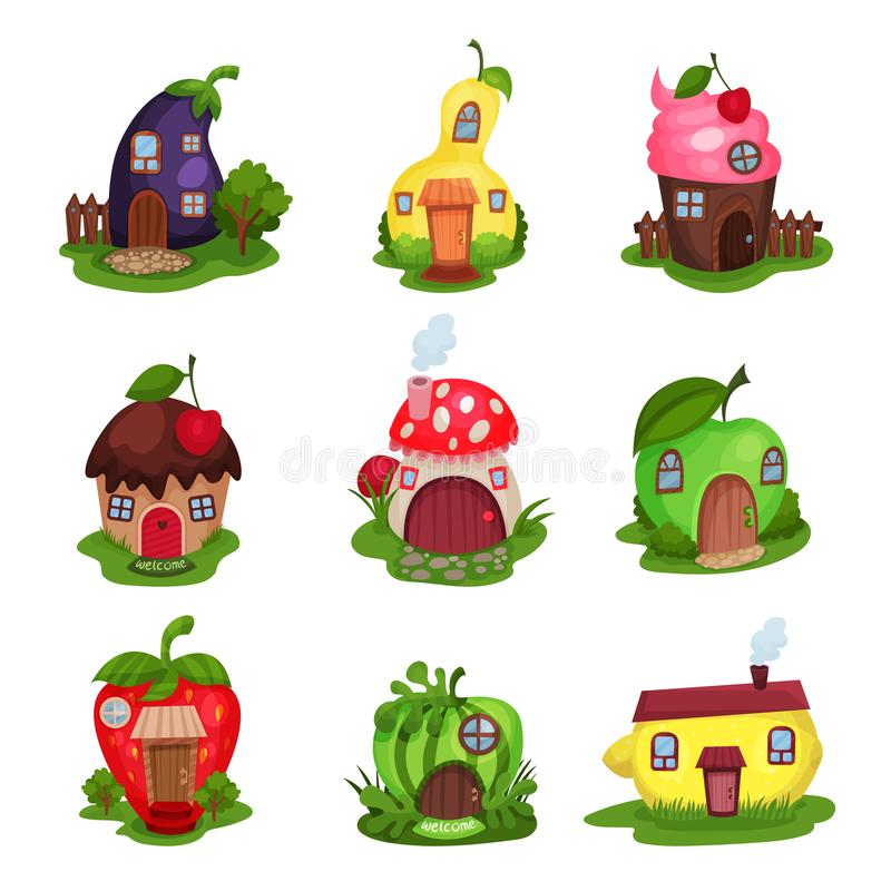 Sistema de casas de la fantasía en la forma de berenjena, de pera, de magdalena, de seta, de manzana, de fresa, de sandía y de li ilustración del vector