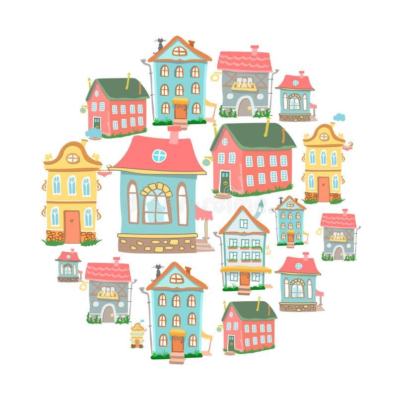 Sistema de casas lindas de la historieta del vector a mano stock de ilustración