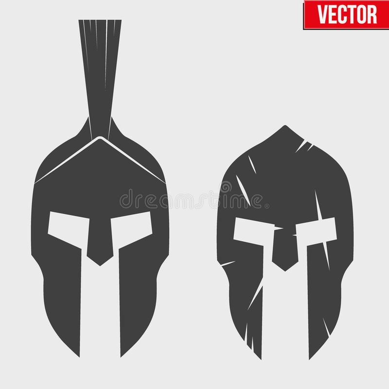 Sistema de cascos espartanos de la silueta libre illustration