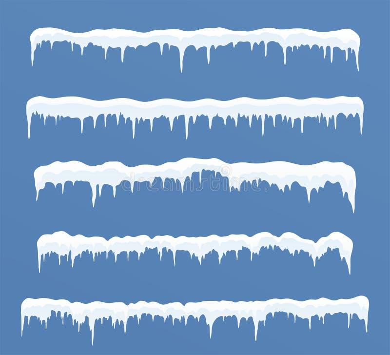 Sistema de casquetes glaciares largos Nieves acumulada por la ventisca, carámbanos, decoración del invierno de los elementos ilustración del vector