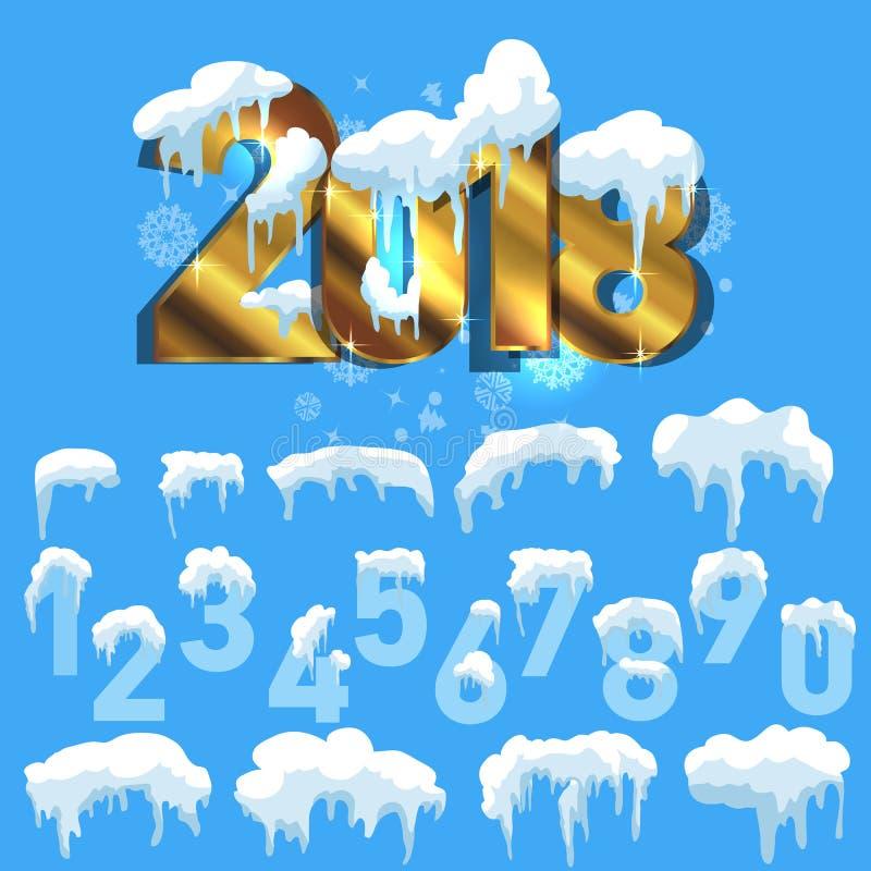 Sistema de casquetes glaciares Nieves acumulada por la ventisca, carámbanos, decoración del invierno de los elementos imagenes de archivo