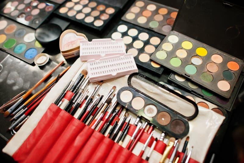 Sistema de cepillo profesional del maquillaje y de palett colorido de las sombras de ojos fotografía de archivo libre de regalías