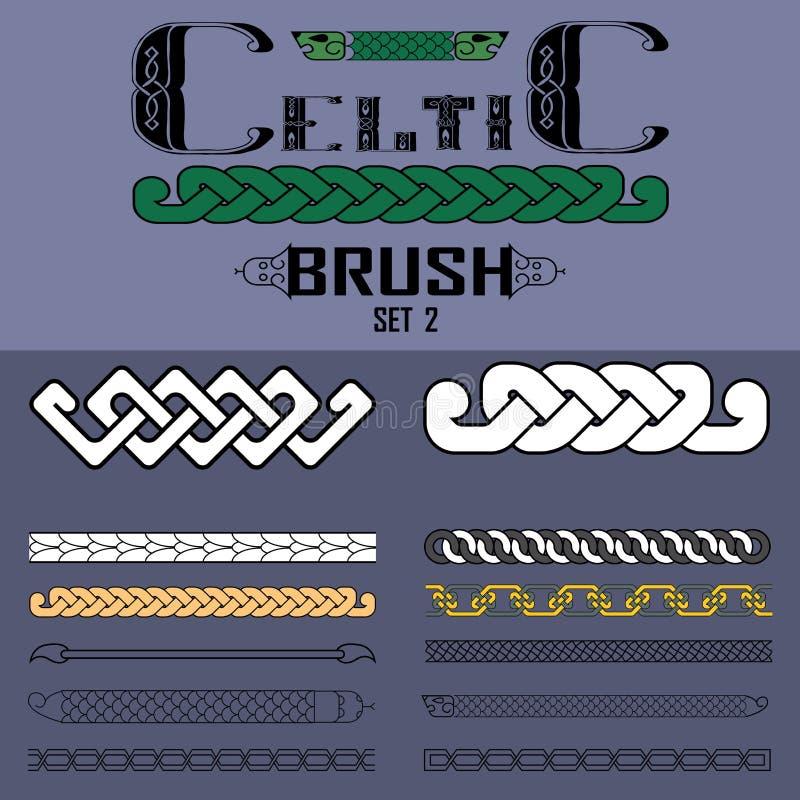 Sistema de cepillos del vector en de estilo celta Elementos del diseño stock de ilustración