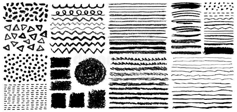 Sistema de cepillos en colores pastel pintados a mano del creyón libre illustration