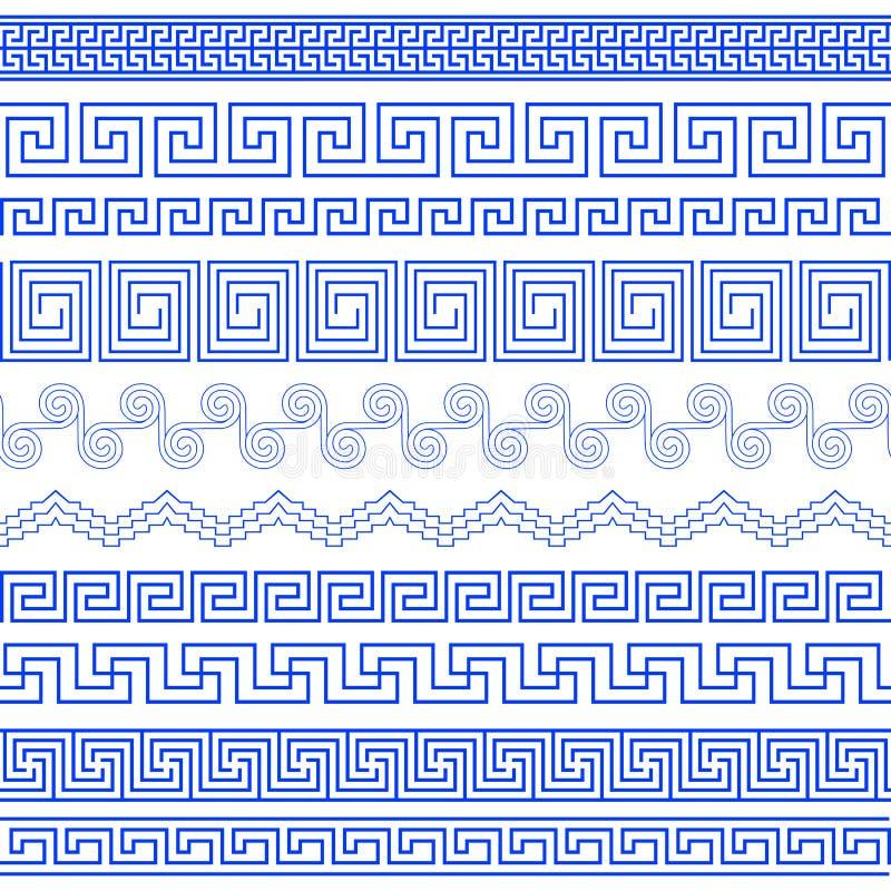Sistema de cepillos para crear los modelos griegos del meandro ilustración del vector