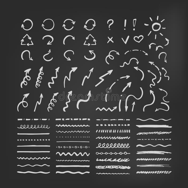 Sistema de cepillos y de flechas del vector en la pizarra stock de ilustración