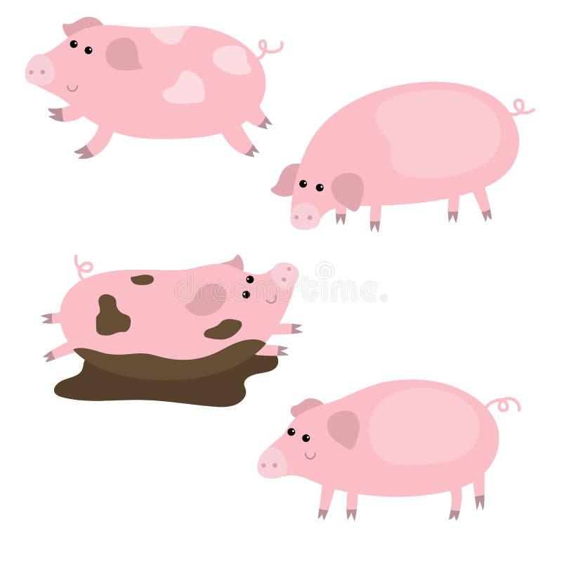 Sistema de cerdos lindos ilustración del vector