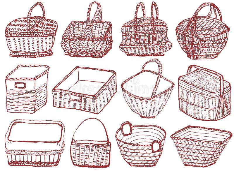 Sistema de cestas de mimbre dibujadas mano ilustración del vector