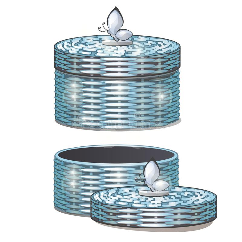 Sistema de cestas de mimbre redondas con las tapas Ilustración del vector stock de ilustración
