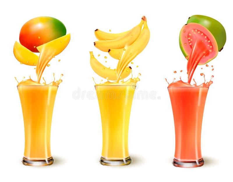 Sistema de chapoteo del zumo de fruta en un vidrio ilustración del vector