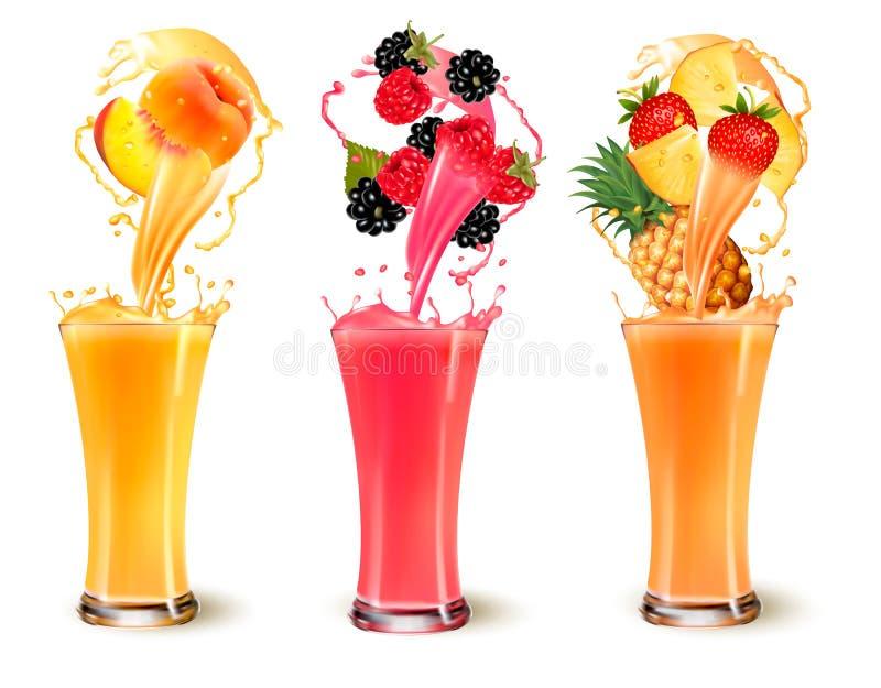 Sistema de chapoteo del zumo de fruta en un vidrio stock de ilustración