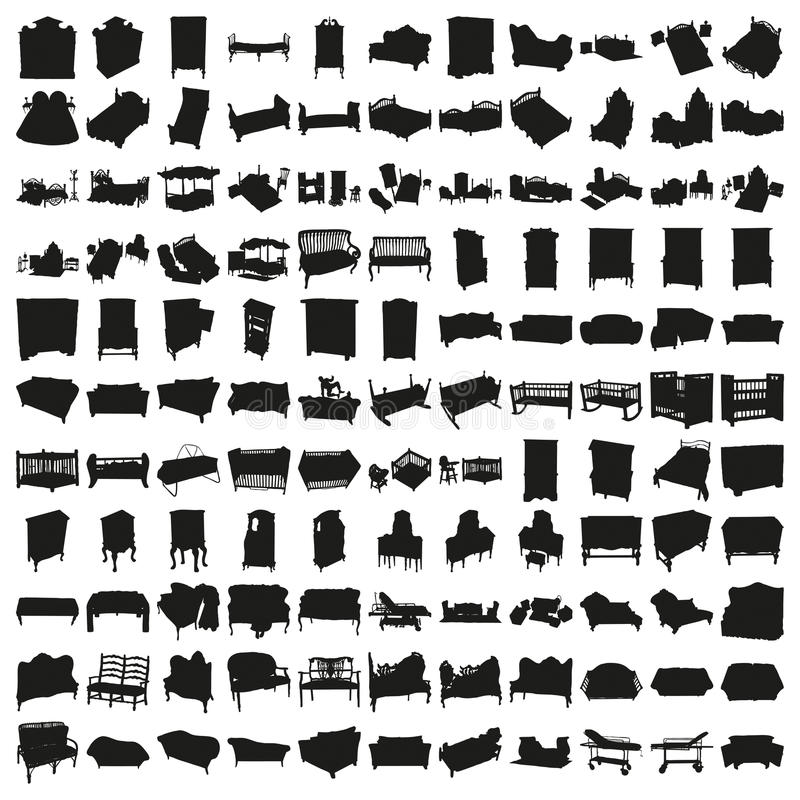 Sistema de cientos camas y siluetas de los sofás fotos de archivo