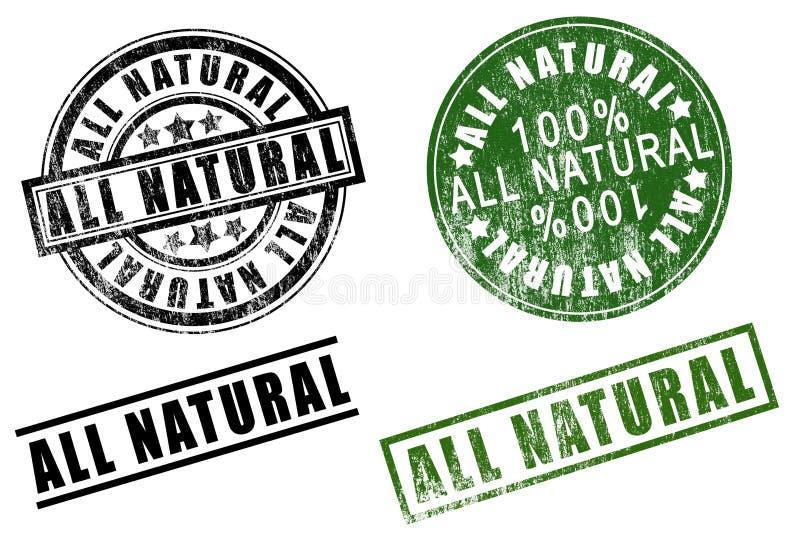 Sistema de 100 cientos % de los sellos de goma totalmente naturales del por ciento ilustración del vector