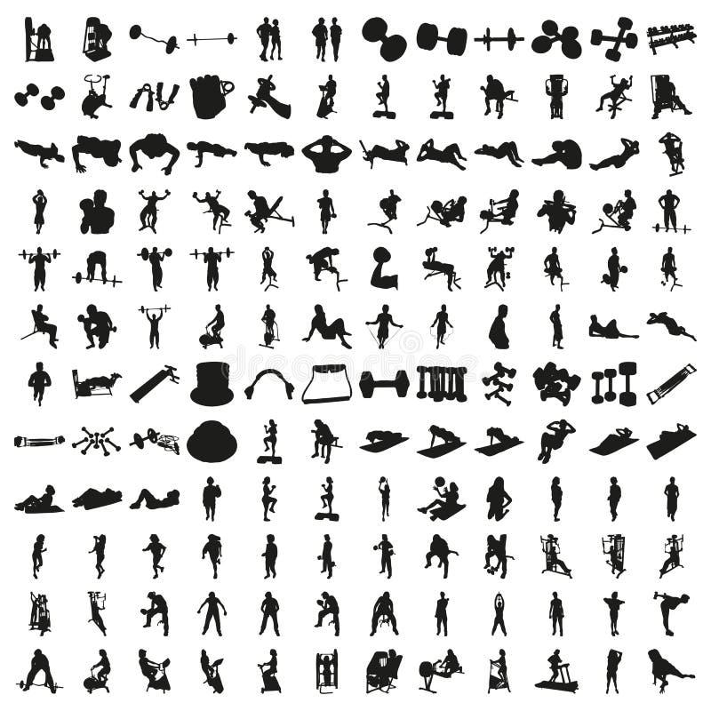 Sistema de cientos siluetas de la aptitud Vector hermoso foto de archivo libre de regalías