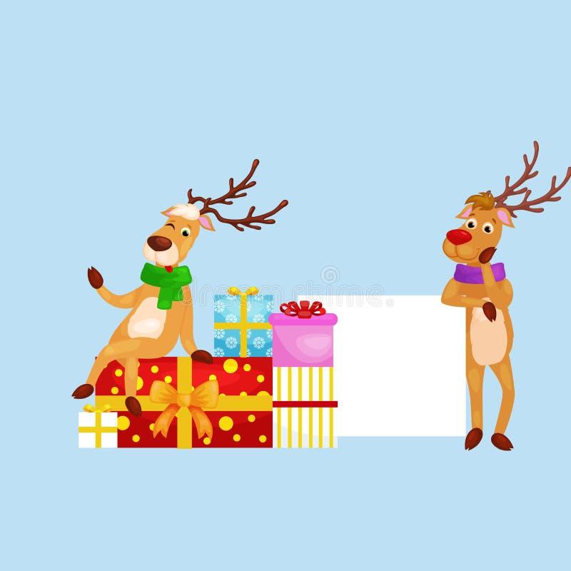 Sistema de ciervos con la bandera aislada, día de fiesta feliz de la Navidad de Navidad del invierno stock de ilustración