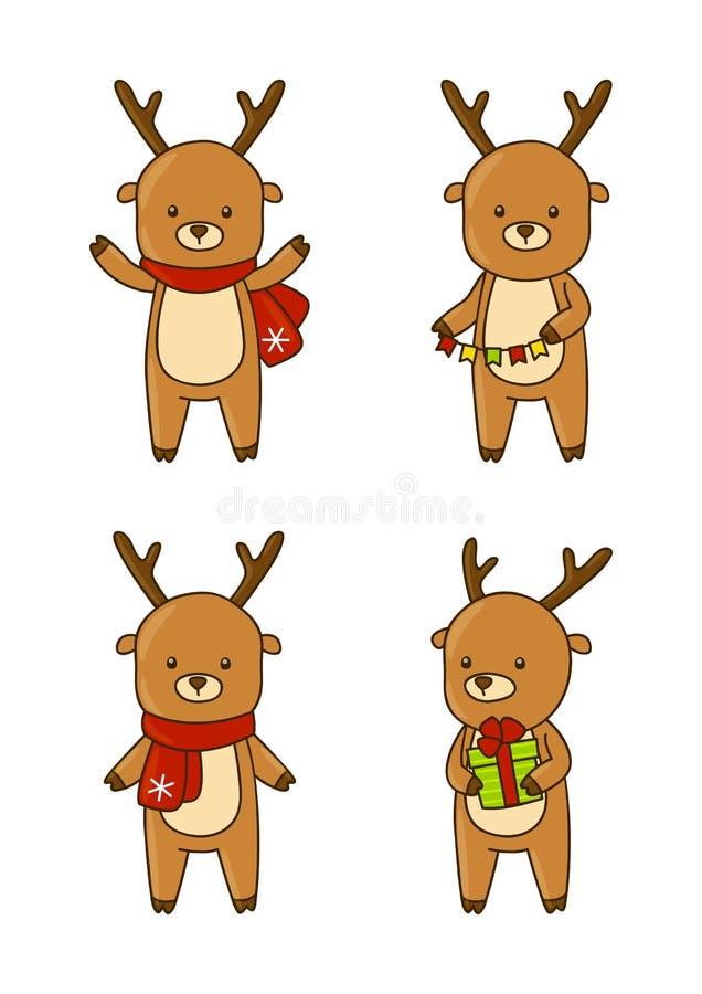 Sistema de ciervos lindos de la Navidad stock de ilustración