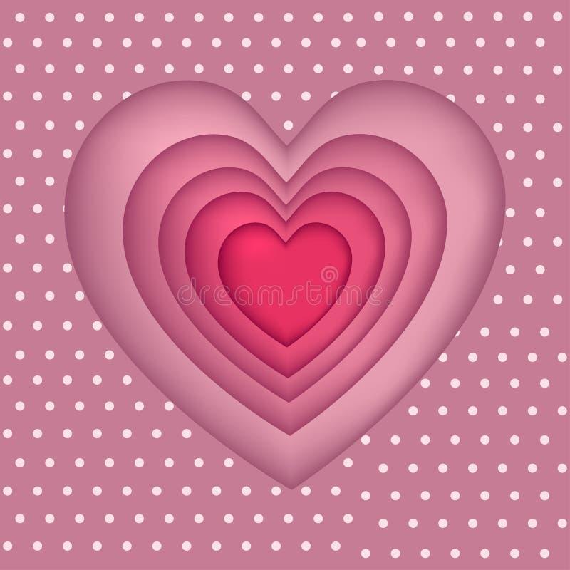 Sistema de cinco corazones, tallado del papel stock de ilustración