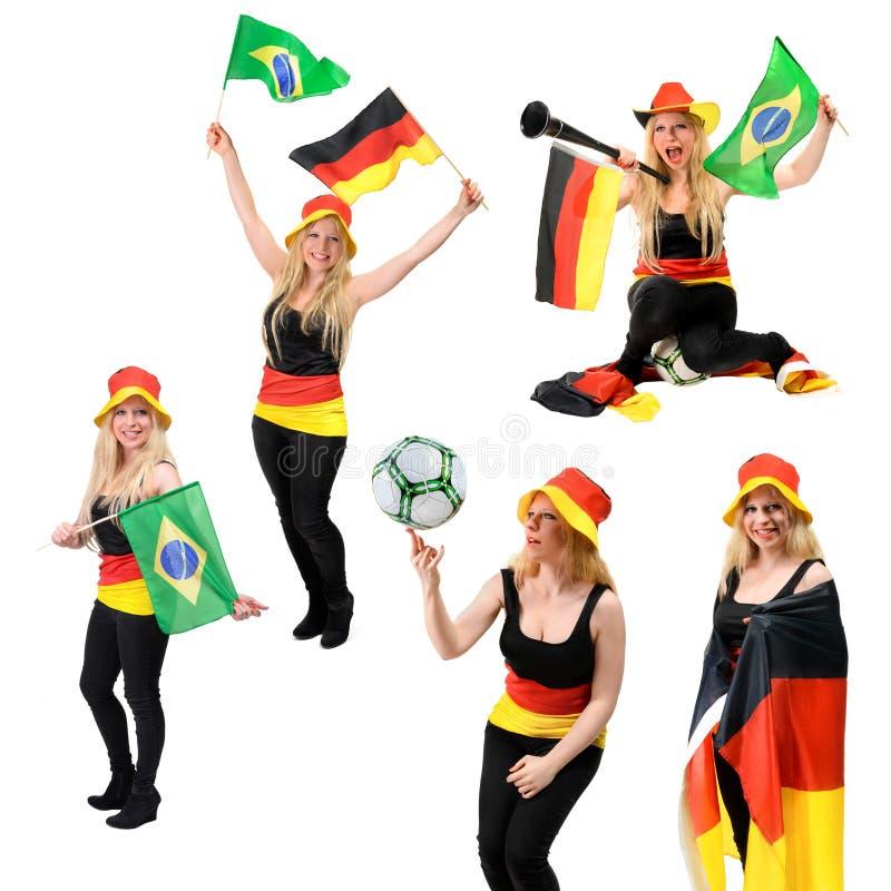 Sistema de cinco imágenes con el aficionado al fútbol alemán que anima para Alemania imagenes de archivo
