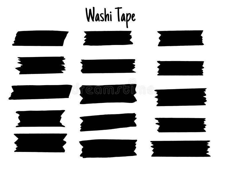 Sistema de cinta moderno de Washi Colecci?n de Scrapbooking, banderas de la frontera aisladas en blanco ilustración del vector