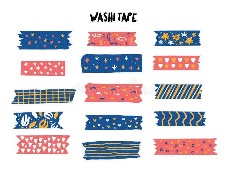 Sistema de cinta moderno de Washi con diversos modelos Colecci?n de Scrapbooking, banderas de la frontera aisladas en blanco ilustración del vector