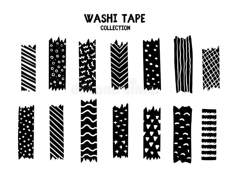 Sistema de cinta moderno de Washi con diversos modelos, dise?o blanco y negro La colecci?n de Scrapbooking, banderas de la fronte stock de ilustración