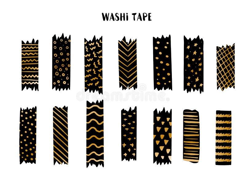 Sistema de cinta moderno de Washi con diversos modelos, dise?o de oro Colecci?n de Scrapbooking, banderas de la frontera aisladas libre illustration