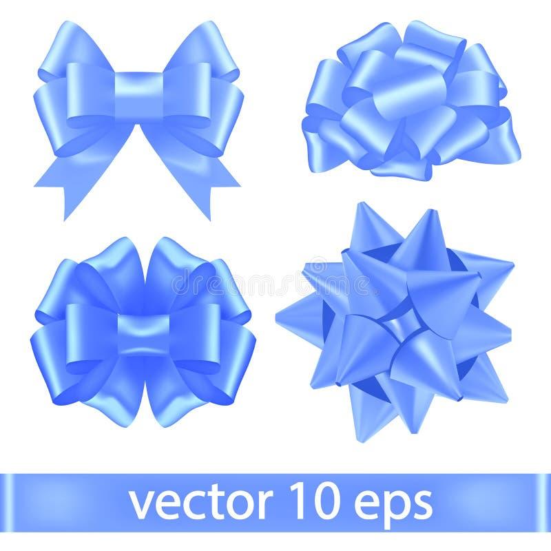 Sistema de cintas azules atadas en los arcos enormes Decoraciones festivas del vector Arco realista del vector Blue Ribbon para l stock de ilustración