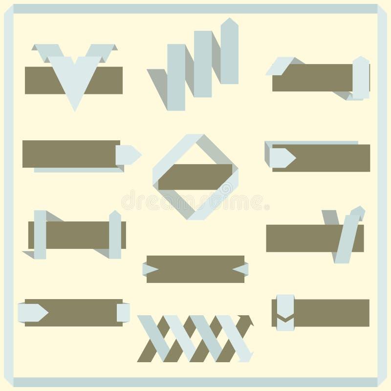 Sistema de cintas, de banderas y de etiquetas retras del vector libre illustration