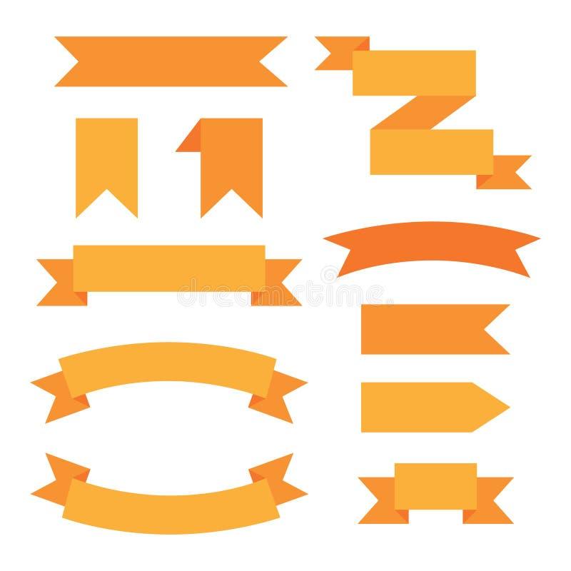 Sistema de cintas decorativas gráficas del web anaranjado ilustración del vector